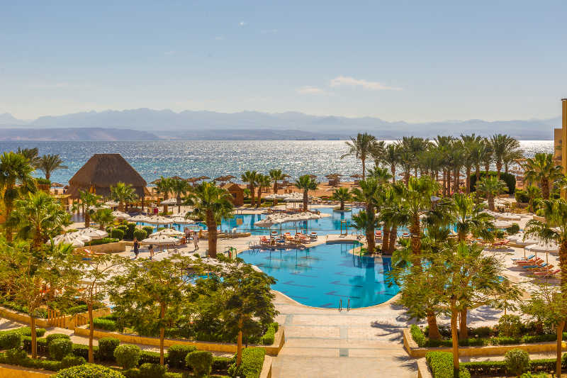 The top view of Strand Resort at Taba Heights with the sea and pool view