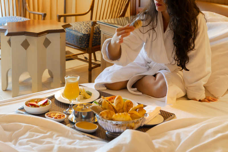 Room Service at Mosaique Beach Resort with fresh breakfast for guests