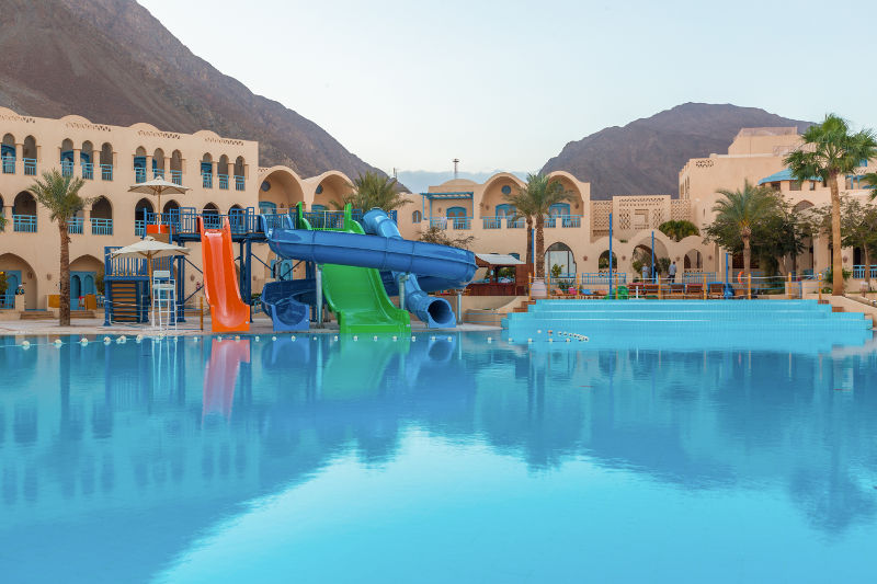 An overview of El Wekala Aqua Park and Swimming pools in Taba Heights Resort in Sinai
