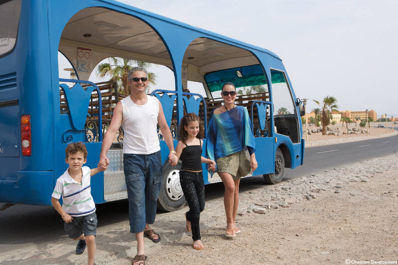 A family spend their family vacation at Taba Heights Resort in Egypt