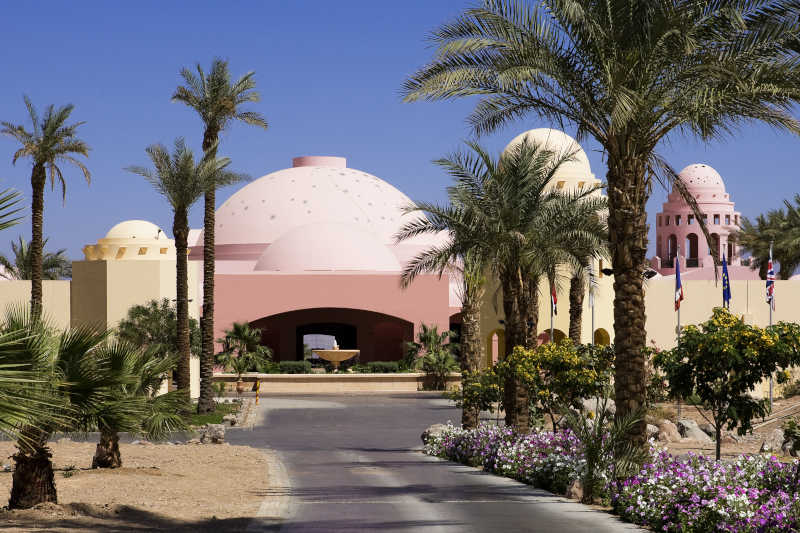 The entrance of Mosaique Beach Resort in Taba Heights