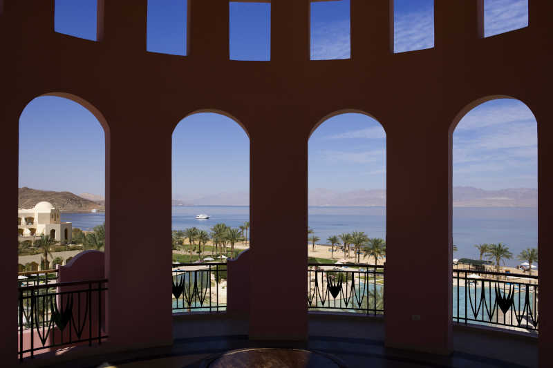 The panoramic from Mosaique Beach resort tower shows the Sea and mountains of Sinai