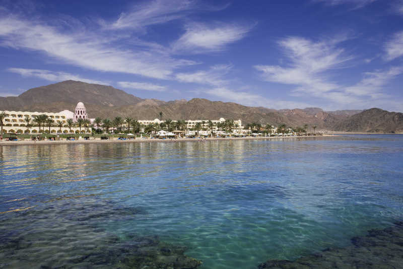 A view for Mosaique Beach Resort from the sea in Taba Heights